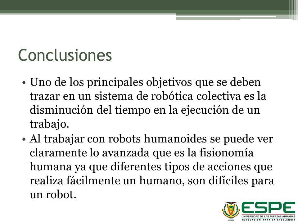 Conclusiones Uno de los principales objetivos que se deben trazar en un sistema de robótica colectiva es la disminución del tiempo en la ejecución de