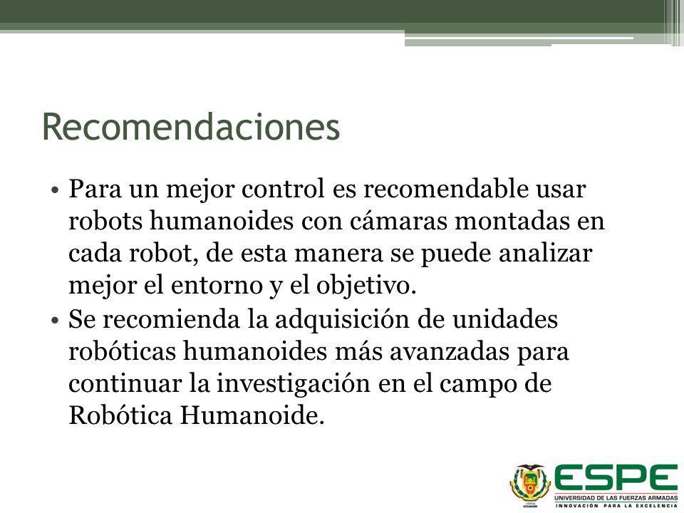 Recomendaciones Para un mejor control es recomendable usar robots humanoides con cámaras montadas en cada robot, de esta manera se puede analizar mejo
