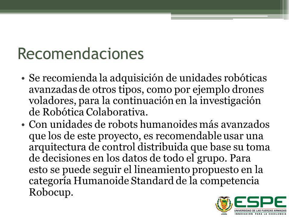 Recomendaciones Se recomienda la adquisición de unidades robóticas avanzadas de otros tipos, como por ejemplo drones voladores, para la continuación e