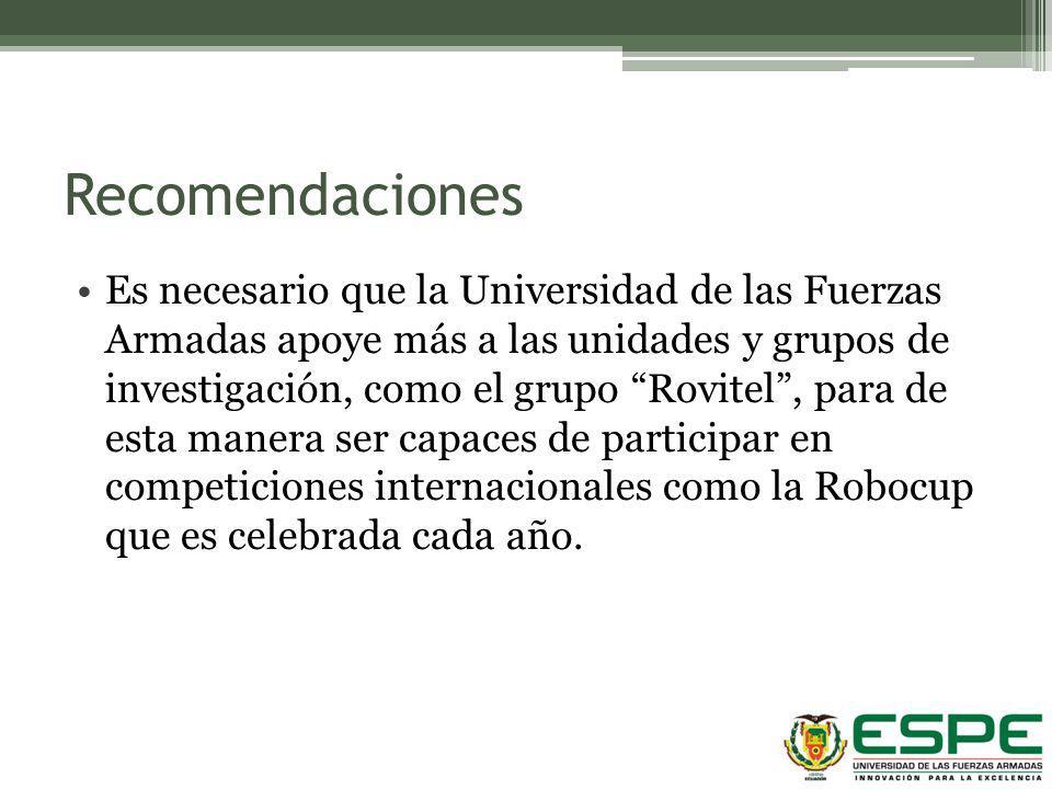 Recomendaciones Es necesario que la Universidad de las Fuerzas Armadas apoye más a las unidades y grupos de investigación, como el grupo Rovitel, para
