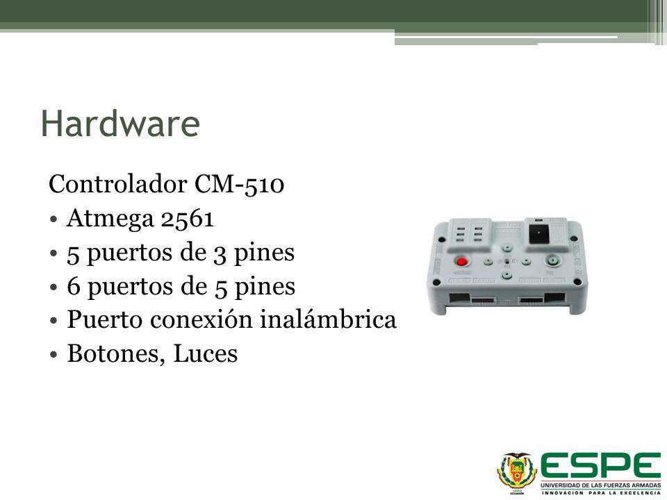 Hardware Controlador CM-510 Atmega 2561 5 puertos de 3 pines 6 puertos de 5 pines Puerto conexión inalámbrica Botones, Luces