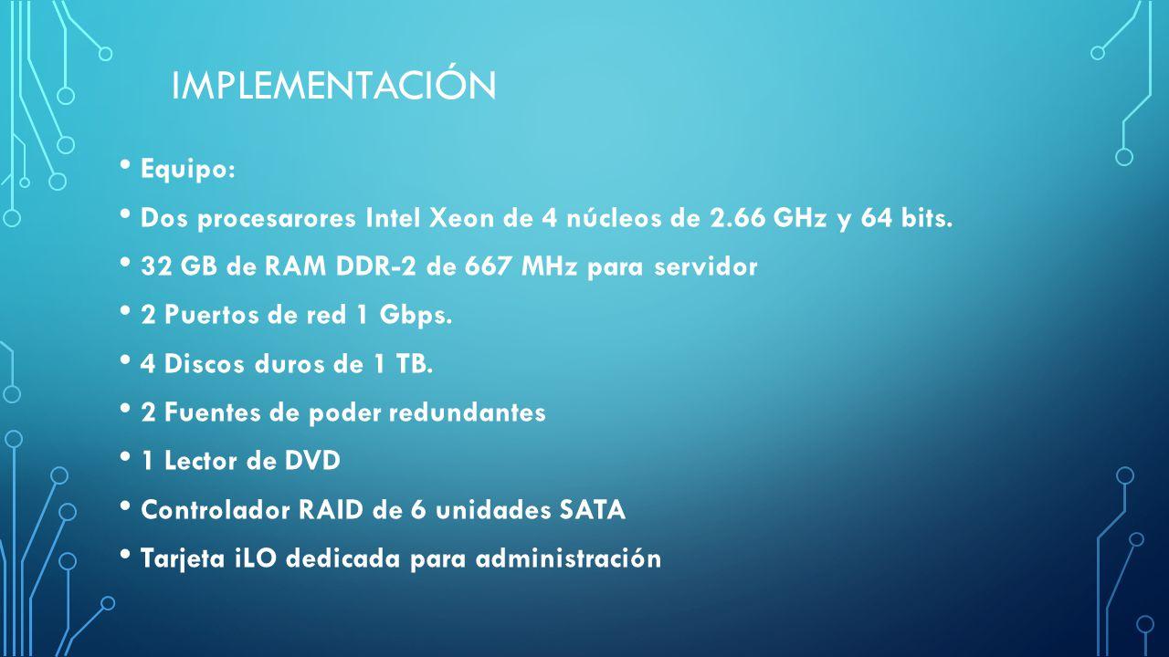 IMPLEMENTACIÓN Equipo: Dos procesarores Intel Xeon de 4 núcleos de 2.66 GHz y 64 bits. 32 GB de RAM DDR-2 de 667 MHz para servidor 2 Puertos de red 1