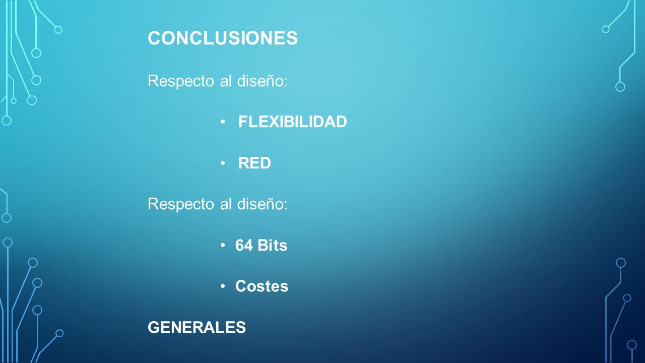 CONCLUSIONES Respecto al diseño: FLEXIBILIDAD RED Respecto al diseño: 64 Bits Costes GENERALES