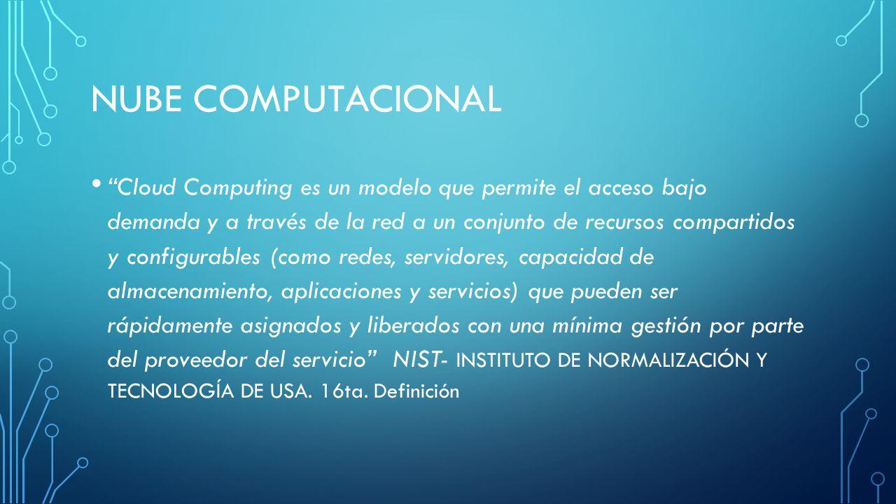 NUBE COMPUTACIONAL Cloud Computing es un modelo que permite el acceso bajo demanda y a través de la red a un conjunto de recursos compartidos y config