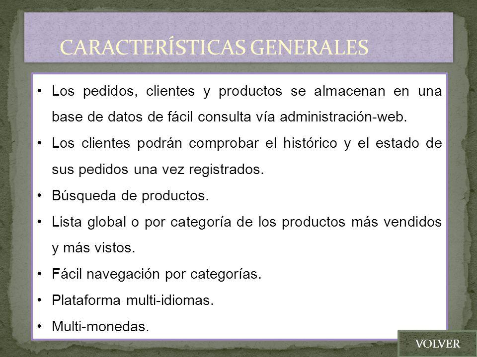Los pedidos, clientes y productos se almacenan en una base de datos de fácil consulta vía administración-web. Los clientes podrán comprobar el históri