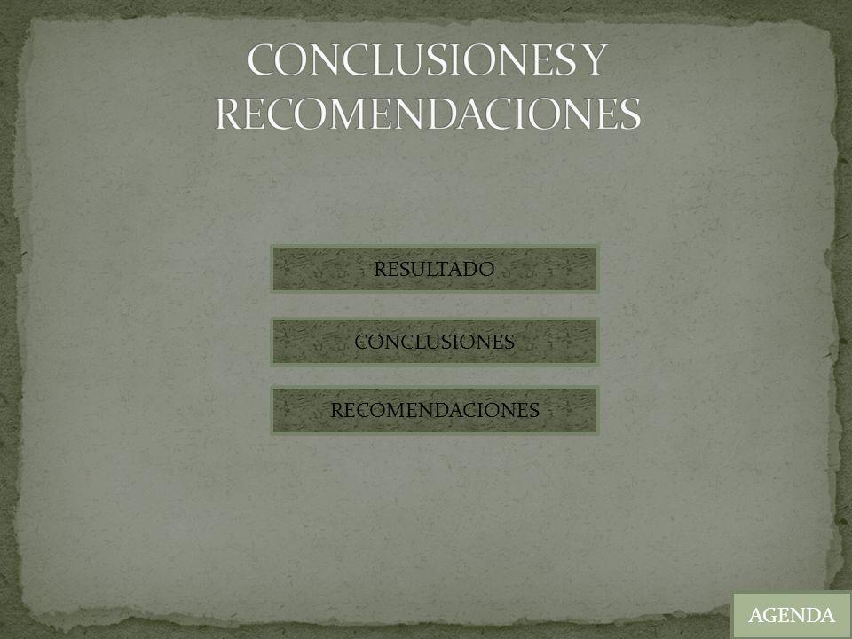 AGENDA RESULTADO CONCLUSIONES RECOMENDACIONES