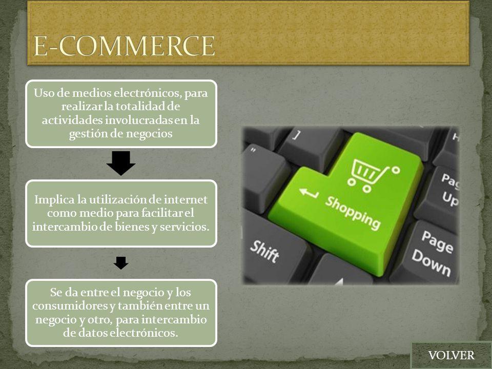 Uso de medios electrónicos, para realizar la totalidad de actividades involucradas en la gestión de negocios Implica la utilización de internet como m