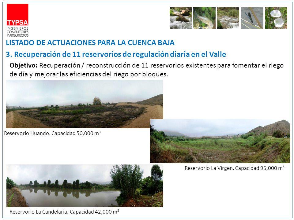 LISTADO DE ACTUACIONES PARA LA CUENCA BAJA 3. Recuperación de 11 reservorios de regulación diaria en el Valle Objetivo: Recuperación / reconstrucción