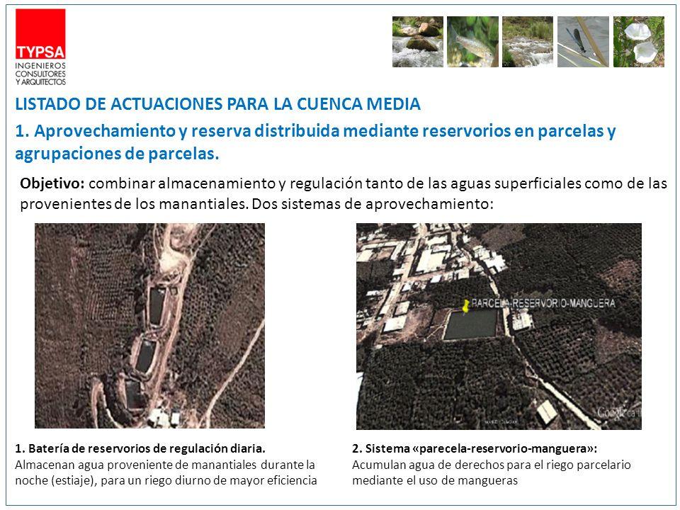 LISTADO DE ACTUACIONES PARA LA CUENCA MEDIA 1. Aprovechamiento y reserva distribuida mediante reservorios en parcelas y agrupaciones de parcelas. Obje