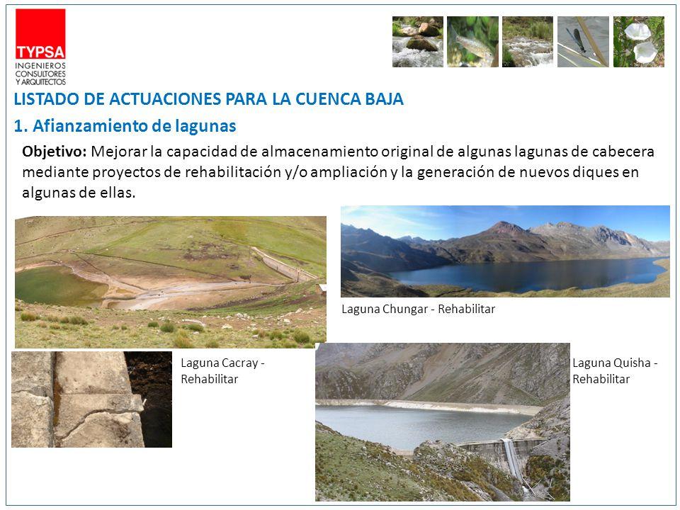 LISTADO DE ACTUACIONES PARA LA CUENCA BAJA 1. Afianzamiento de lagunas Objetivo: Mejorar la capacidad de almacenamiento original de algunas lagunas de