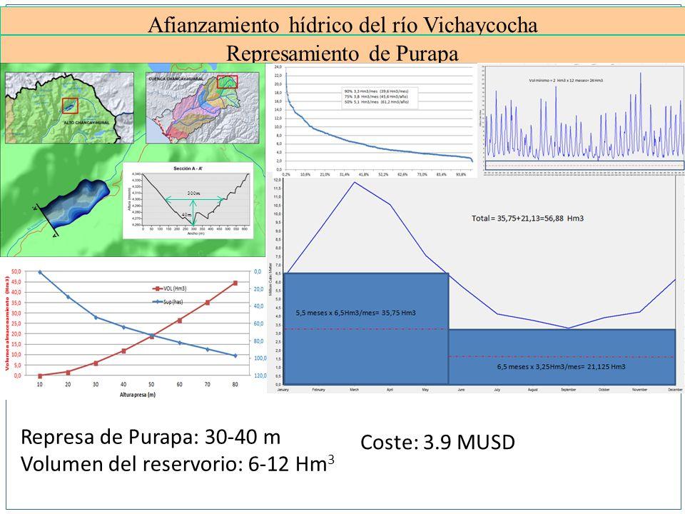 Afianzamiento hídrico del río Vichaycocha Represamiento de Purapa Represa de Purapa: 30-40 m Volumen del reservorio: 6-12 Hm 3 Coste: 3.9 MUSD 300m 40m