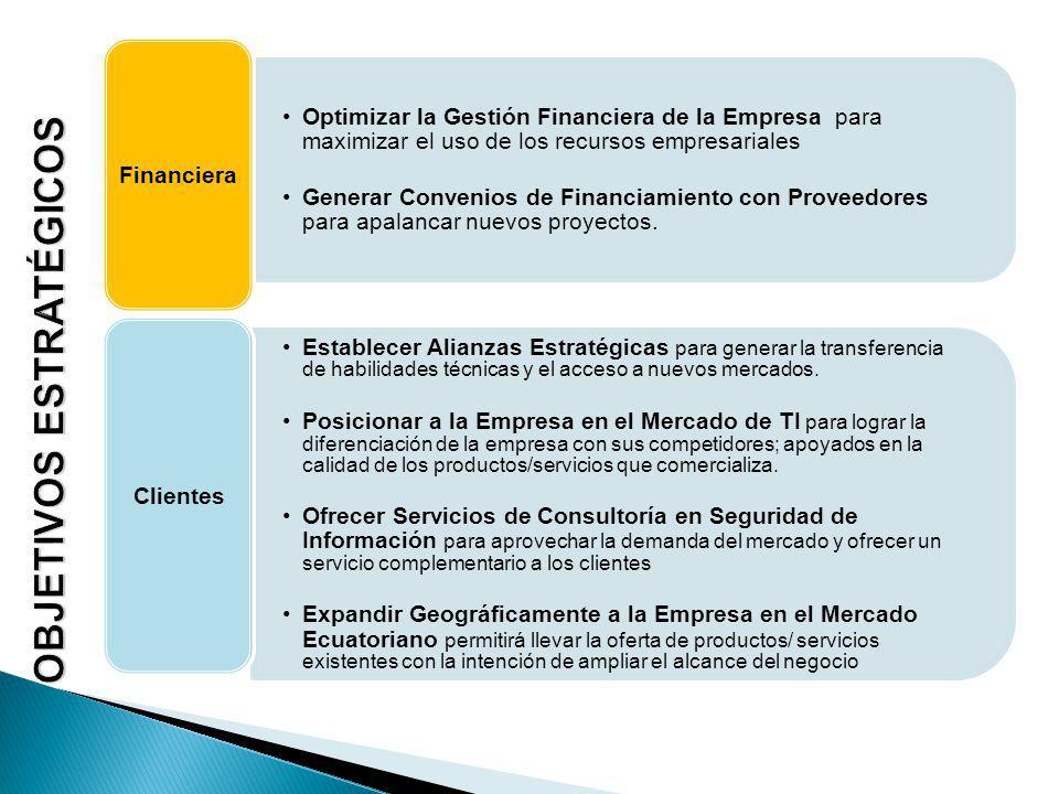 Optimizar la Gestión Financiera de la Empresa para maximizar el uso de los recursos empresariales Generar Convenios de Financiamiento con Proveedores para apalancar nuevos proyectos.