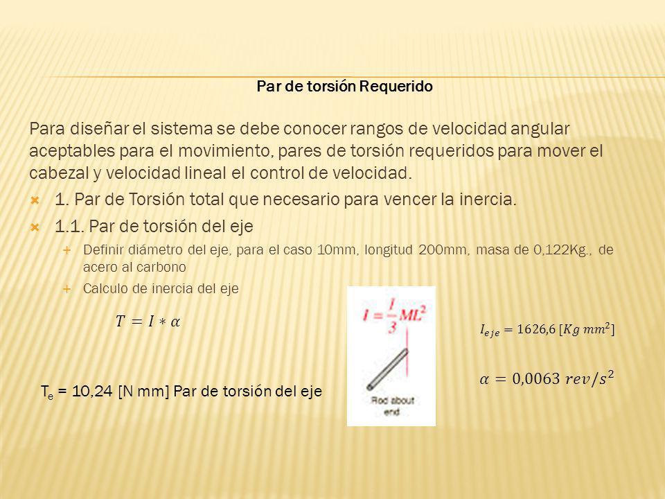 Para diseñar el sistema se debe conocer rangos de velocidad angular aceptables para el movimiento, pares de torsión requeridos para mover el cabezal y