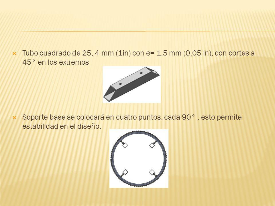 Tubo cuadrado de 25, 4 mm (1in) con e= 1,5 mm (0,05 in), con cortes a 45° en los extremos Soporte base se colocará en cuatro puntos, cada 90°, esto pe