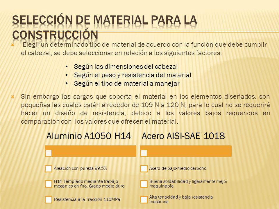Elegir un determinado tipo de material de acuerdo con la función que debe cumplir el cabezal, se debe seleccionar en relación a los siguientes factore