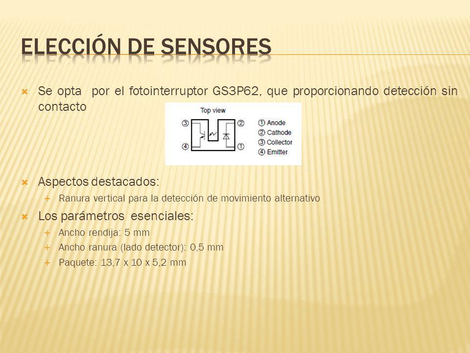 Se opta por el fotointerruptor GS3P62, que proporcionando detección sin contacto Aspectos destacados: Ranura vertical para la detección de movimiento