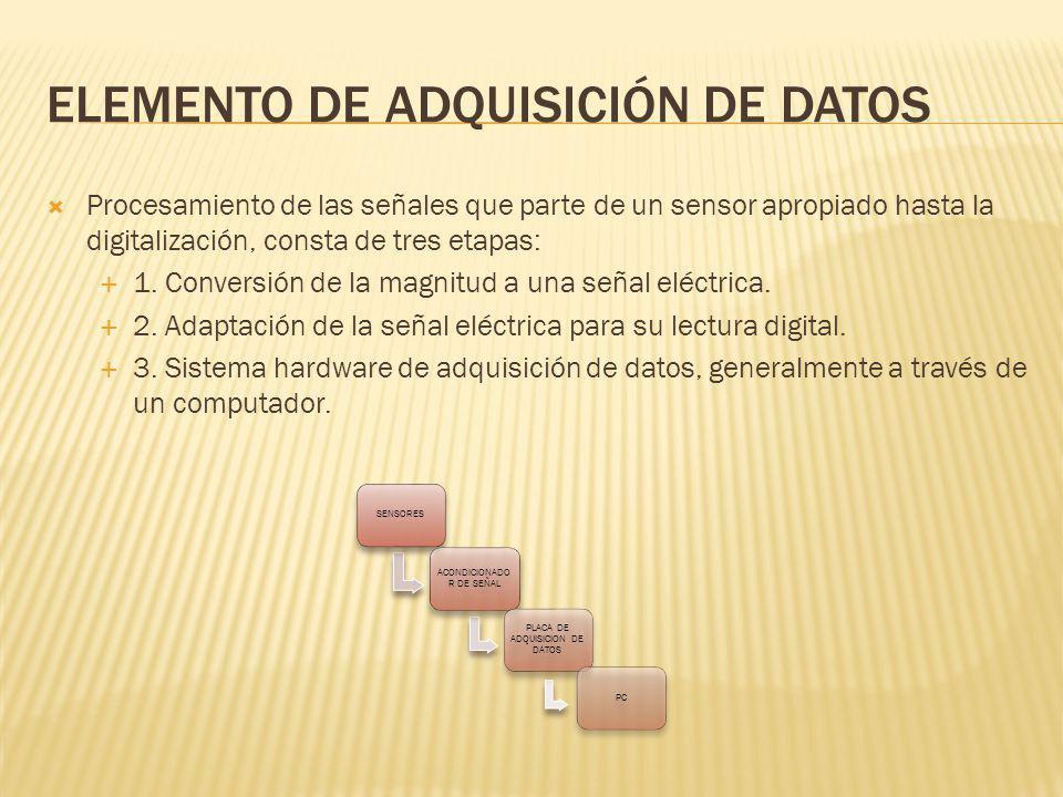 ELEMENTO DE ADQUISICIÓN DE DATOS Procesamiento de las señales que parte de un sensor apropiado hasta la digitalización, consta de tres etapas: 1. Conv