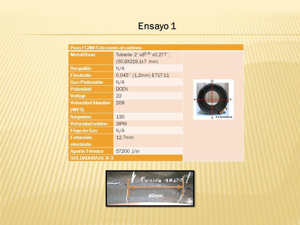 Para FCAW-S de acero al carbono Metal Base Tubería- 2x8 5/8 x0,277, (50,8X219,1x7 mm) RespaldoN/A Electrodo0,045 (1,2mm) E71T-11 Gas ProtecciónN/A Pol