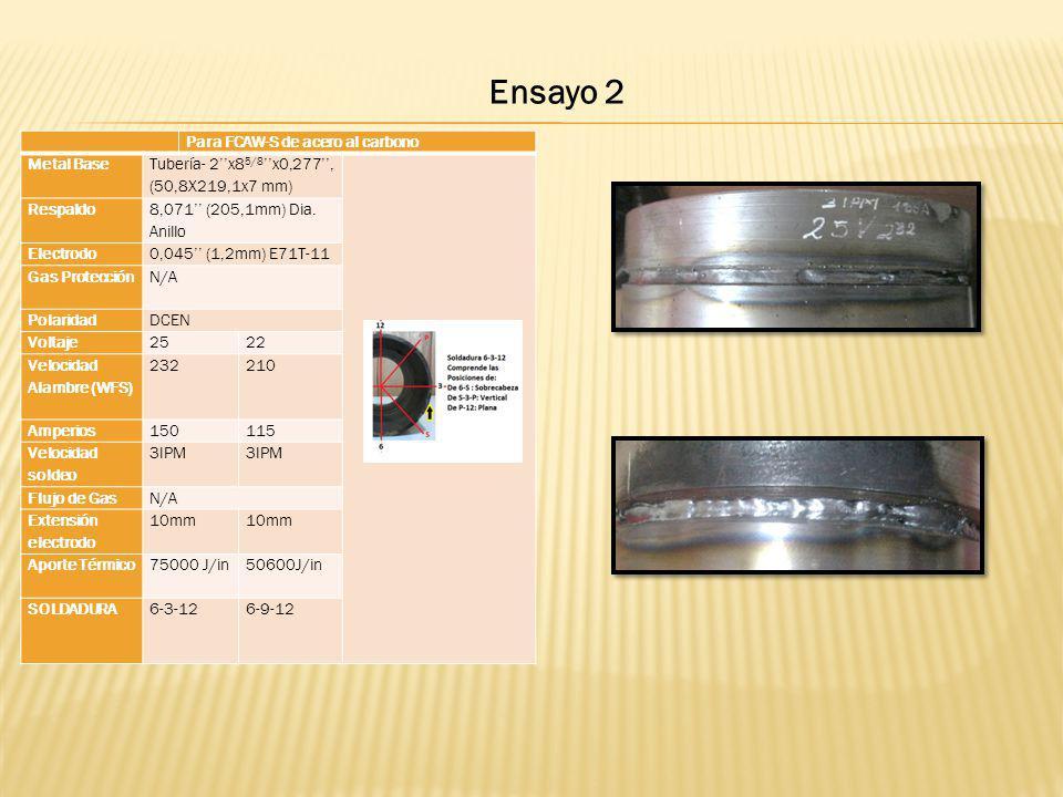 Para FCAW-S de acero al carbono Metal Base Tubería- 2x8 5/8 x0,277, (50,8X219,1x7 mm) Respaldo 8,071 (205,1mm) Dia. Anillo Electrodo0,045 (1,2mm) E71T