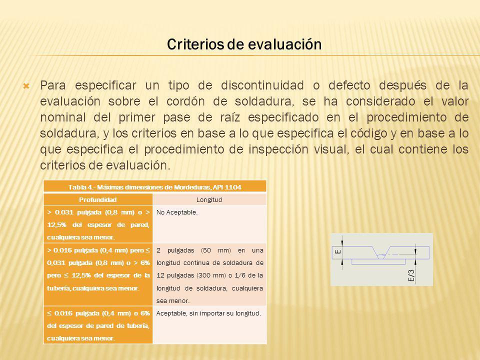 Para especificar un tipo de discontinuidad o defecto después de la evaluación sobre el cordón de soldadura, se ha considerado el valor nominal del pri