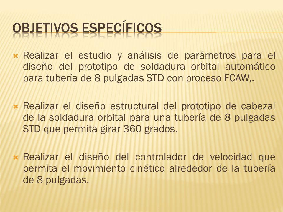 Para FCAW-S de acero al carbono Metal Base Tubería- 2x8 5/8 x0,277, (50,8X219,1x7 mm) RespaldoN/A Electrodo0,045 (1,2mm) E71T-11 Gas ProtecciónN/A PolaridadDCEN Voltaje22 Velocidad Alambre (WFS) 209 Amperios130 Velocidad soldeo3IPM Flujo de GasN/A Extensión electrodo 12,7mm Aporte Térmico57200 J/in SOLDADURA DE 6-3 40mm Ensayo 1
