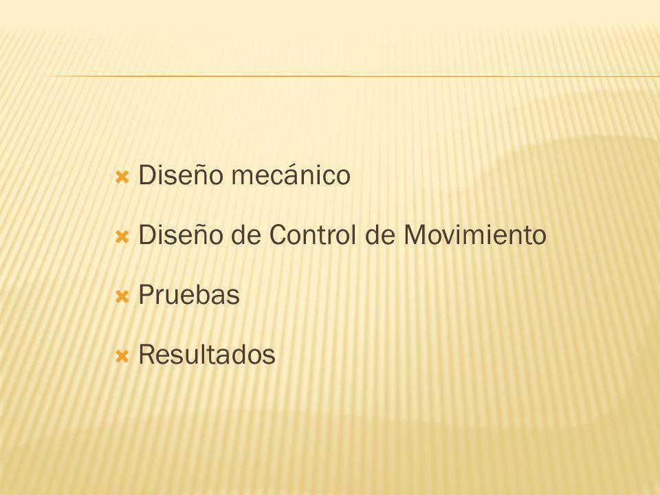 Diseño mecánico Diseño de Control de Movimiento Pruebas Resultados