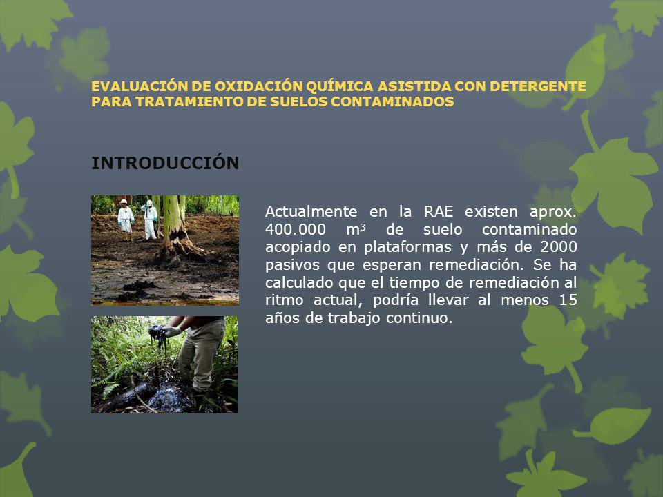 Actualmente en la RAE existen aprox. 400.000 m 3 de suelo contaminado acopiado en plataformas y más de 2000 pasivos que esperan remediación. Se ha cal