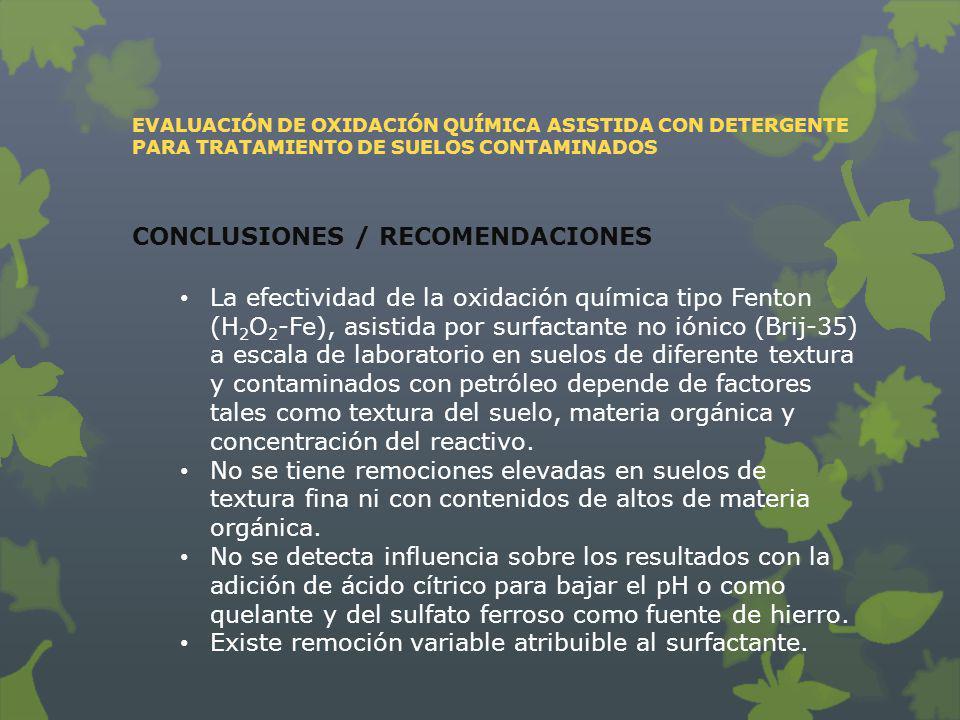 EVALUACIÓN DE OXIDACIÓN QUÍMICA ASISTIDA CON DETERGENTE PARA TRATAMIENTO DE SUELOS CONTAMINADOS CONCLUSIONES / RECOMENDACIONES La efectividad de la ox