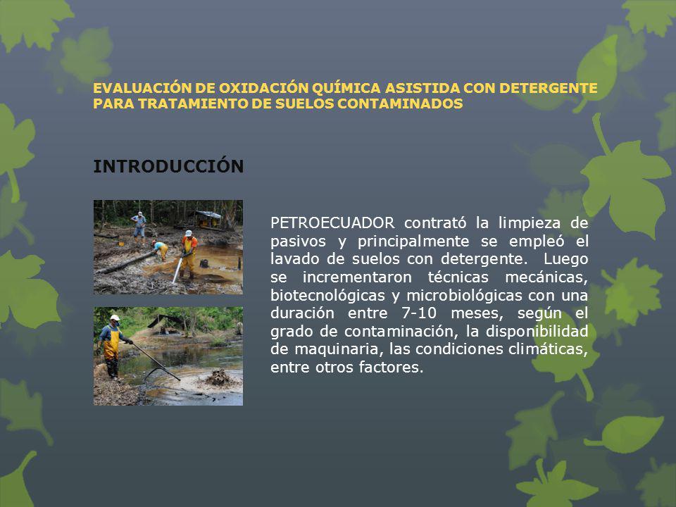 EVALUACIÓN DE OXIDACIÓN QUÍMICA ASISTIDA CON DETERGENTE PARA TRATAMIENTO DE SUELOS CONTAMINADOS RESULTADOS Y DISCUSIÓN Conteo de microorganismos totales Existió un mayor conteo de microrganismos en el suelo contaminado que en el natural, lo que indica atenuación natural.