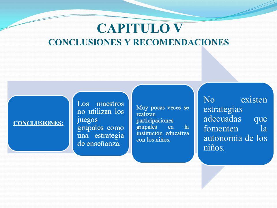 CAPITULO V CONCLUSIONES Y RECOMENDACIONES CONCLUSIONES: Los maestros no utilizan los juegos grupales como una estrategia de enseñanza. Muy pocas veces