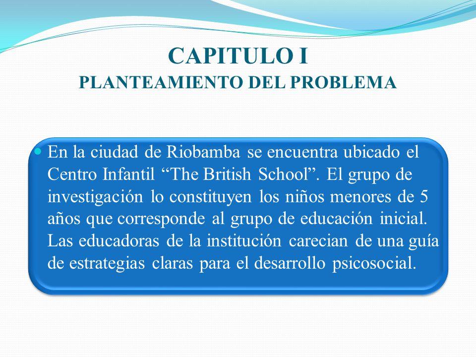 CAPITULO I PLANTEAMIENTO DEL PROBLEMA En la ciudad de Riobamba se encuentra ubicado el Centro Infantil The British School. El grupo de investigación l