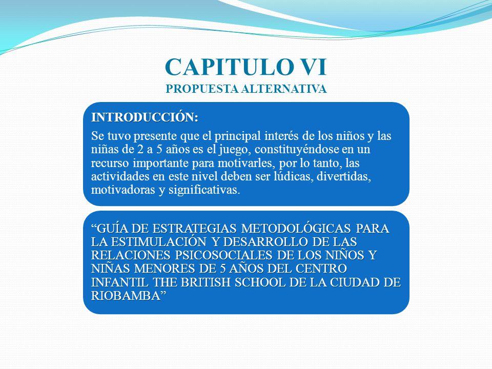 CAPITULO VI PROPUESTA ALTERNATIVA INTRODUCCIÓN: Se tuvo presente que el principal interés de los niños y las niñas de 2 a 5 años es el juego, constitu