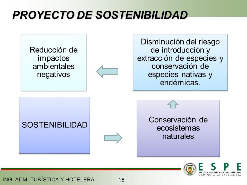 PROYECTO DE SOSTENIBILIDAD Reducción de impactos ambientales negativos Disminución del riesgo de introducción y extracción de especies y conservación