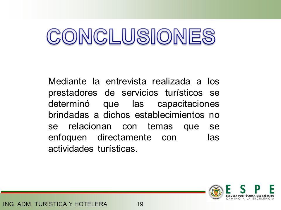 19ING. ADM. TURÍSTICA Y HOTELERA Mediante la entrevista realizada a los prestadores de servicios turísticos se determinó que las capacitaciones brinda