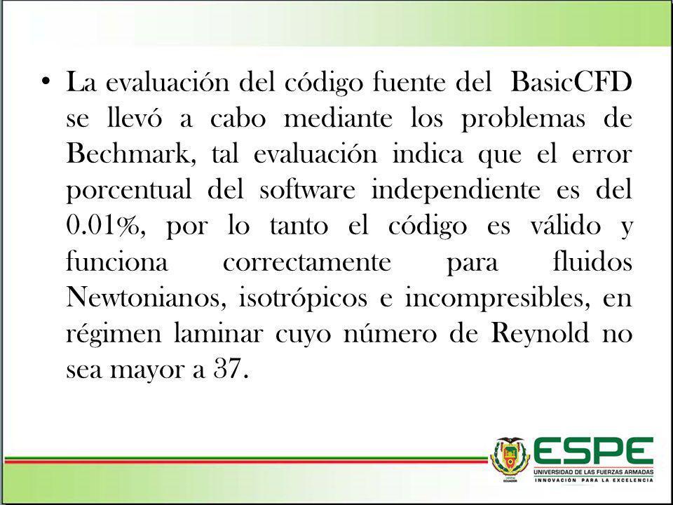 La evaluación del código fuente del BasicCFD se llevó a cabo mediante los problemas de Bechmark, tal evaluación indica que el error porcentual del sof