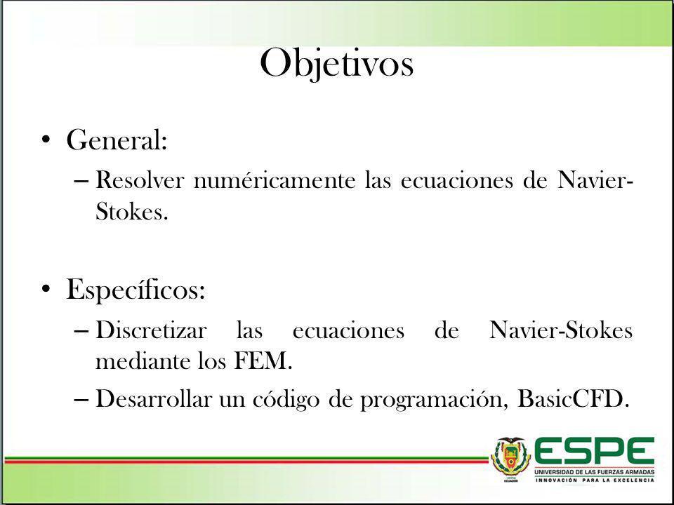 Objetivos General: – Resolver numéricamente las ecuaciones de Navier- Stokes. Específicos: – Discretizar las ecuaciones de Navier-Stokes mediante los