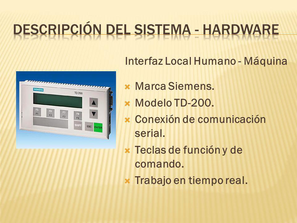 Interfaz Local Humano - Máquina Marca Siemens.Modelo TD-200.