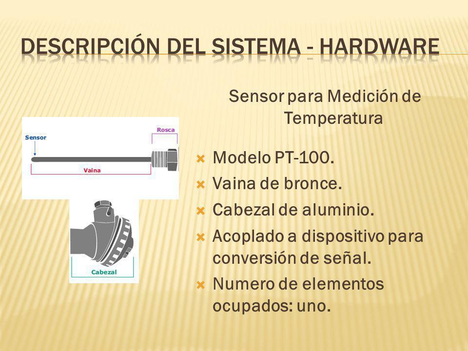 Sensor para Medición de Temperatura Modelo PT-100. Vaina de bronce. Cabezal de aluminio. Acoplado a dispositivo para conversión de señal. Numero de el