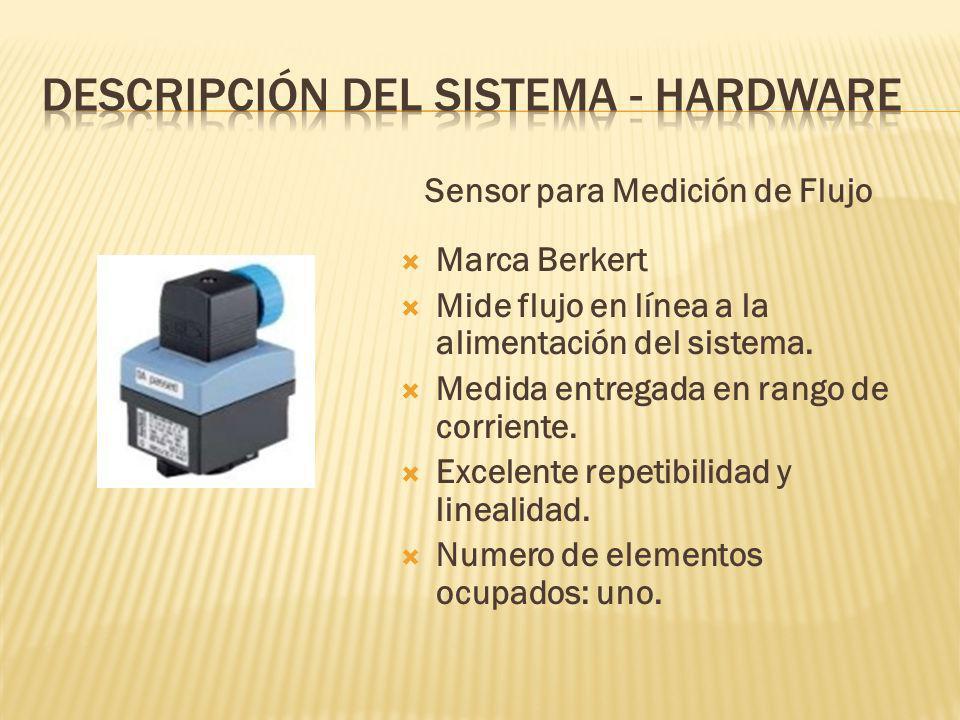 Sensor para Medición de Flujo Marca Berkert Mide flujo en línea a la alimentación del sistema.