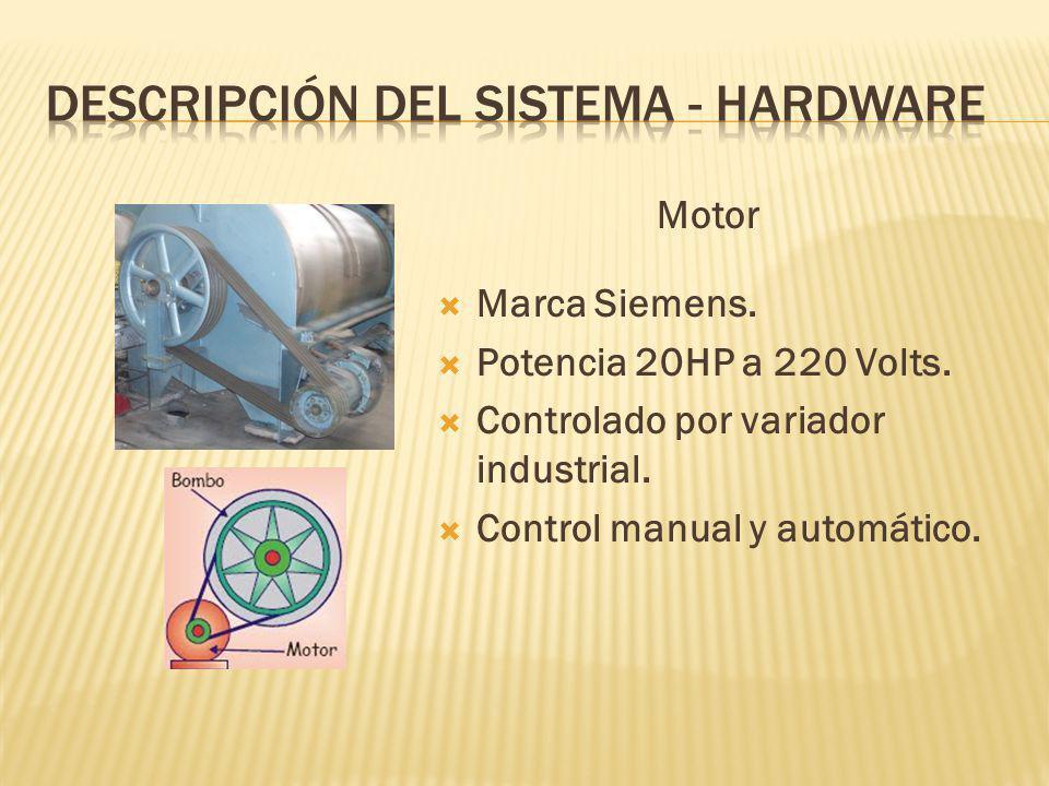 Motor Marca Siemens.Potencia 20HP a 220 Volts. Controlado por variador industrial.