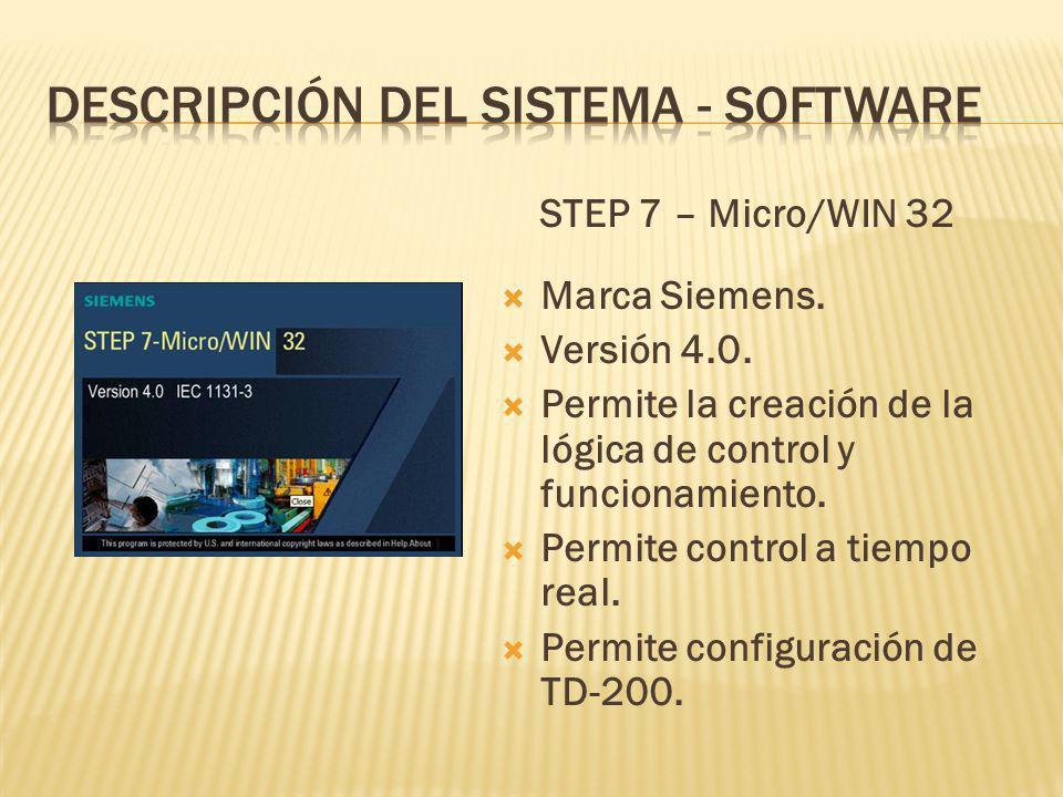 STEP 7 – Micro/WIN 32 Marca Siemens.Versión 4.0.