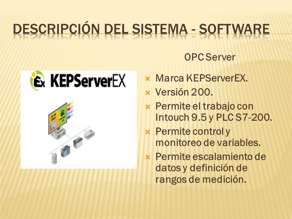OPC Server Marca KEPServerEX.Versión 200. Permite el trabajo con Intouch 9.5 y PLC S7-200.