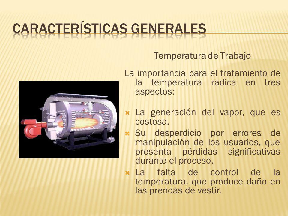 Temperatura de Trabajo La importancia para el tratamiento de la temperatura radica en tres aspectos: La generación del vapor, que es costosa.