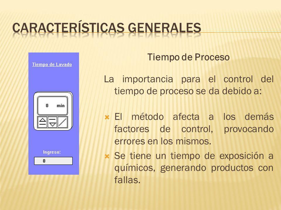 Tiempo de Proceso La importancia para el control del tiempo de proceso se da debido a: El método afecta a los demás factores de control, provocando errores en los mismos.