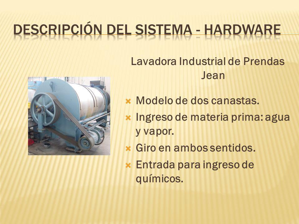 Lavadora Industrial de Prendas Jean Modelo de dos canastas. Ingreso de materia prima: agua y vapor. Giro en ambos sentidos. Entrada para ingreso de qu