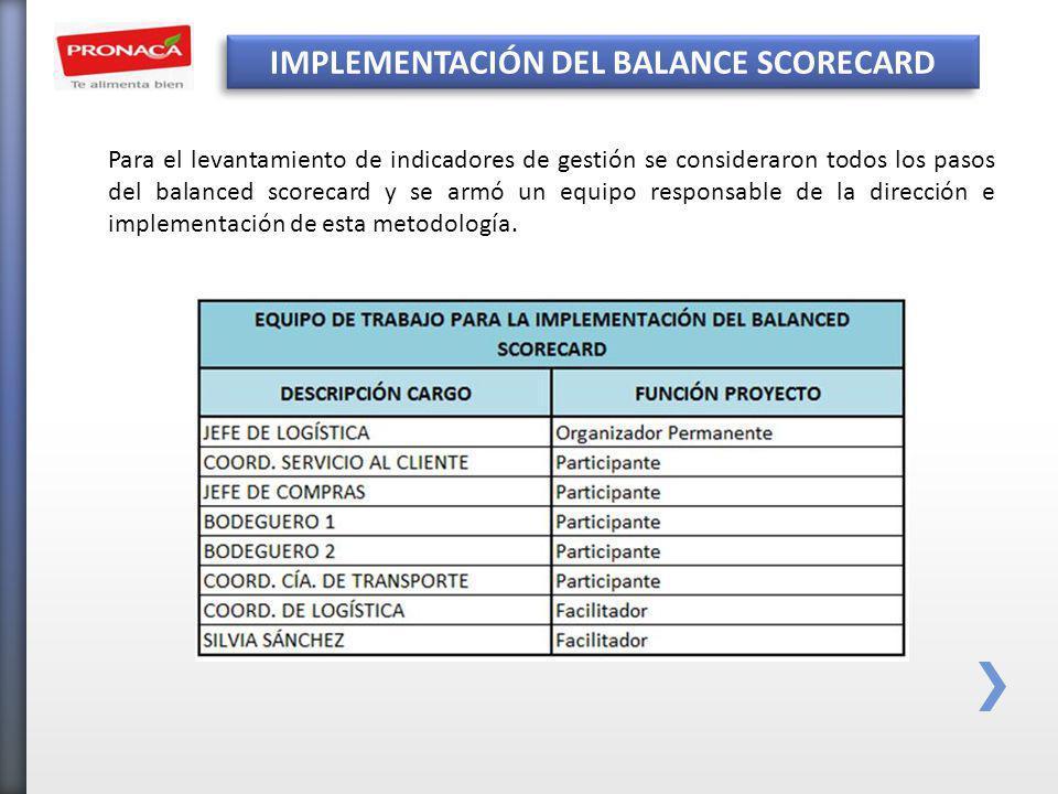 IMPLEMENTACIÓN DEL BALANCE SCORECARD Para el levantamiento de indicadores de gestión se consideraron todos los pasos del balanced scorecard y se armó un equipo responsable de la dirección e implementación de esta metodología.
