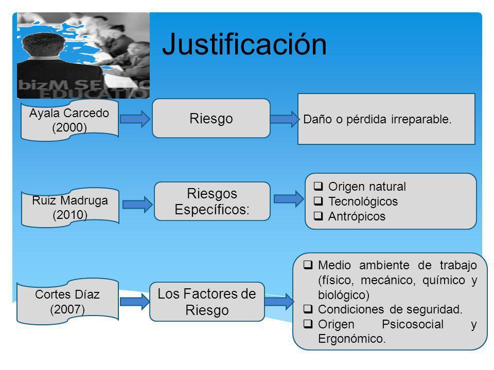 Justificación Ayala Carcedo (2000) Ruiz Madruga (2010) Cortes Díaz (2007) Riesgo Riesgos Específicos: Los Factores de Riesgo Daño o pérdida irreparabl