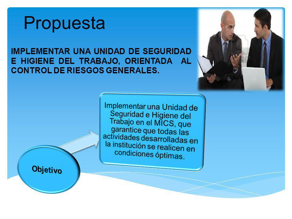 Propuesta IMPLEMENTAR UNA UNIDAD DE SEGURIDAD E HIGIENE DEL TRABAJO, ORIENTADA AL CONTROL DE RIESGOS GENERALES.
