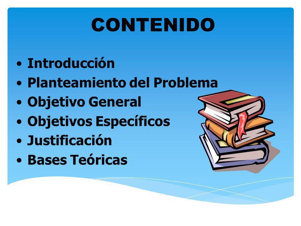 Introducción Planteamiento del Problema Objetivo General Objetivos Específicos Justificación Bases Teóricas CONTENIDO
