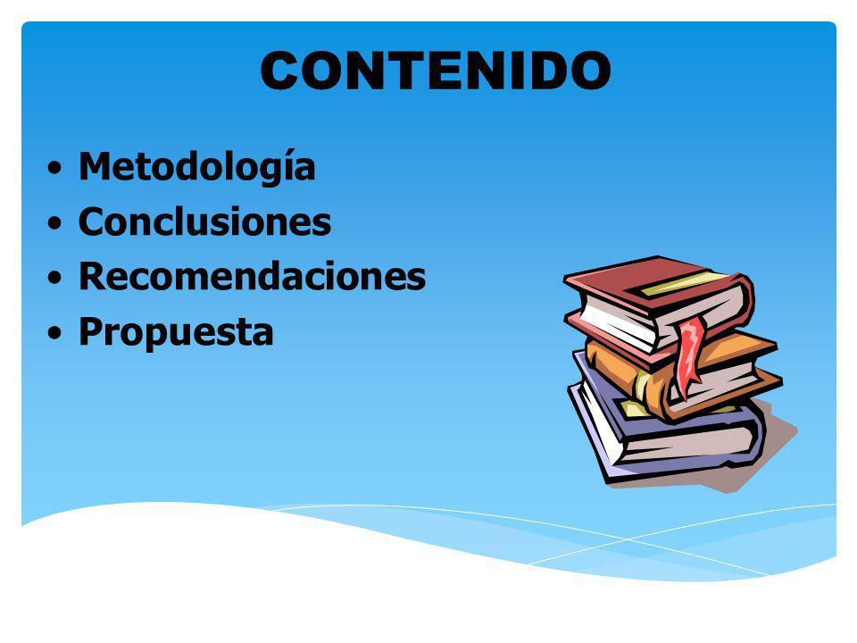 Metodología Conclusiones Recomendaciones Propuesta CONTENIDO